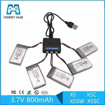 Limskey 800mAh 3,7 V LiPo batería + cargador USB para SYMA X5C X5 X5SW X5HW X5HC MJX X708 W RC Drone Quadcopter batería de repuesto de piezas