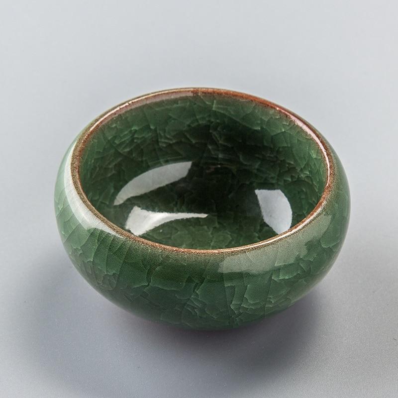 65ML Фарфор ыдыс Шай Шай Қытай Қытай Longquan Celadon Tea Set Қытай Керамикалық Қолөнер шай шыныаяқтар мен табақшалар жиынтығы 6 Түстер D056