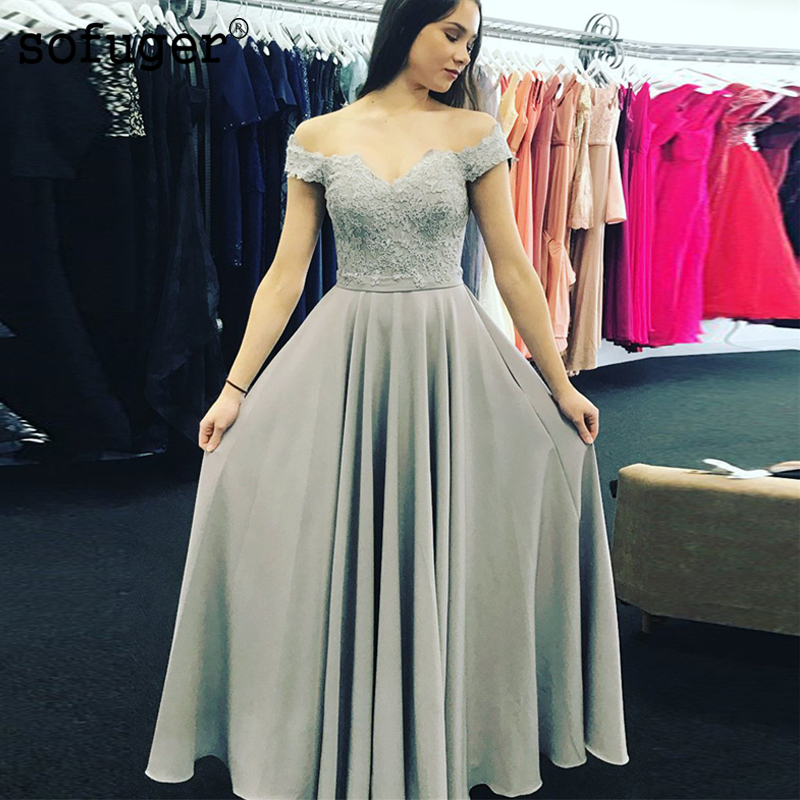 Grey Chiffon Appliques Pleat Sweetheart Off The Shoulder Special Occasion   Bridesmaid     Dress   Formal Vestidos Wedding Party   Dresses