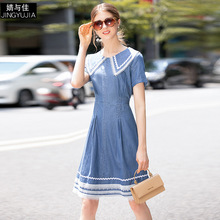 Denim Dress Summer Women's Fashion 2019 Preppy Style Lace Patchwork Turn Down Collar Short Sleeved Slim A-Line Dress Knee Length long sleeved dress women 2019 spring summer new simple stripes turn down collar slim a line casual elegant dress midi s xl