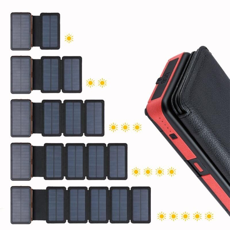 20000mAh Solar Power Bank Dual USB External Battery Waterproof Polymer Battery Solar Charger Outdoor Light Lamp Powerbank