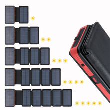 20000mAh Solar Power Bank Dual USB External Battery Waterproof Polymer Battery Solar Charger Outdoor Light Lamp Powerbank universal folding solar powered 5v 12w 4500mah dual usb li polymer battery power bank camouflage
