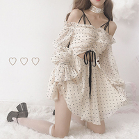 2019 Summer Mori girl New female Kawaii heart print lolita mini Chiffon Dress straps lace strapless long sleeved women dresses