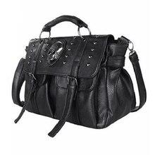 BENVICHED ショルダーバッグの女性のファッションバッグデザイナーパンクスカルリベットバッグすべてマッチ女性のハンドバッグ黒 Big トーバッグ