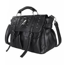 BENVICHED Shoulder Bag Lady Fashion Bag Designer Punk Skull Rivet Bag All Match Womens Handbag Black Big Tote Bag