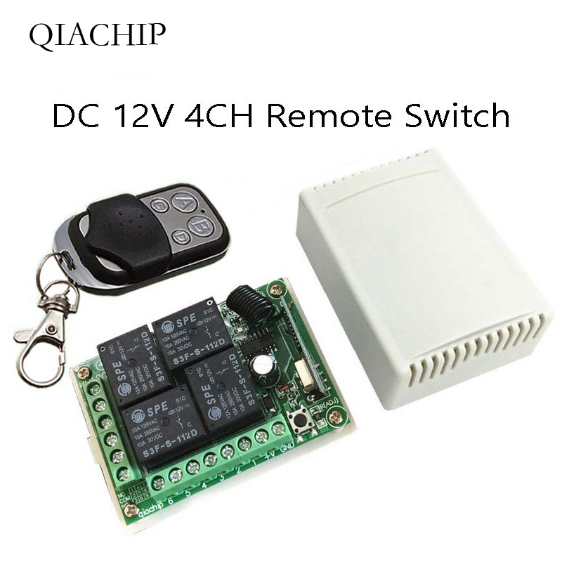 433MHz interruptor de Control remoto inalámbrico Universal DC12V 4CH módulo receptor de relé + 4 canales RF remoto 433 Mhz transmisor DIYcontroles remotos   -