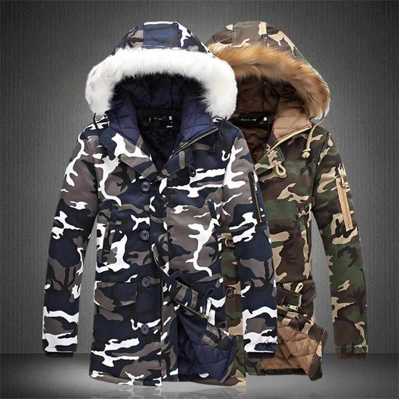 冬のジャケットの男性プラスベルベット M-5XL ファッション迷彩パーカー男性軍事コート男性厚み綿が詰めコートと毛皮フード