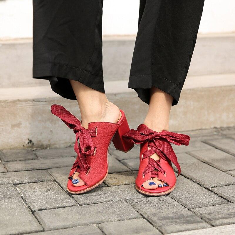 Prova Gladiateur D'été Talons Mujer Chunky Pantoufles Femmes Lacets Rouge Sandalias Sandales Sexy Perfetto Pompes Diapositives Hauts rPqxXYr
