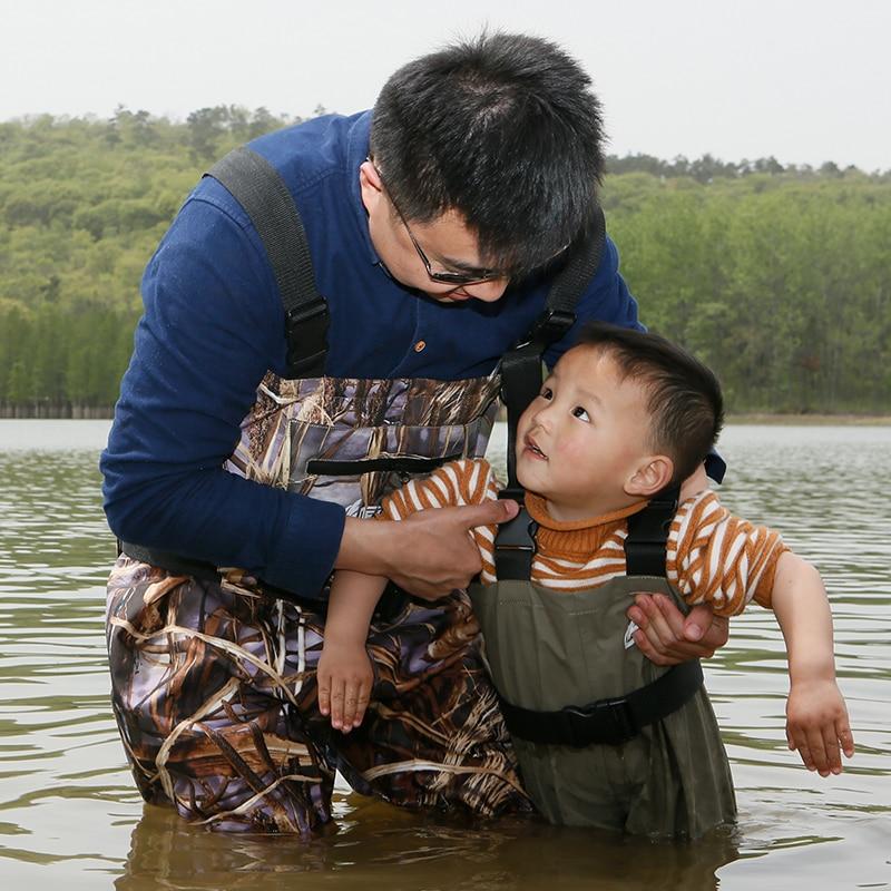 Pantalones de vadeo de pesca transpirable de alta calidad para niños, rafting con botas de suela antideslizante