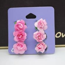 6pcs /set rose flower decorated curl hair clips women wedding hair accessories flower twist hairpins