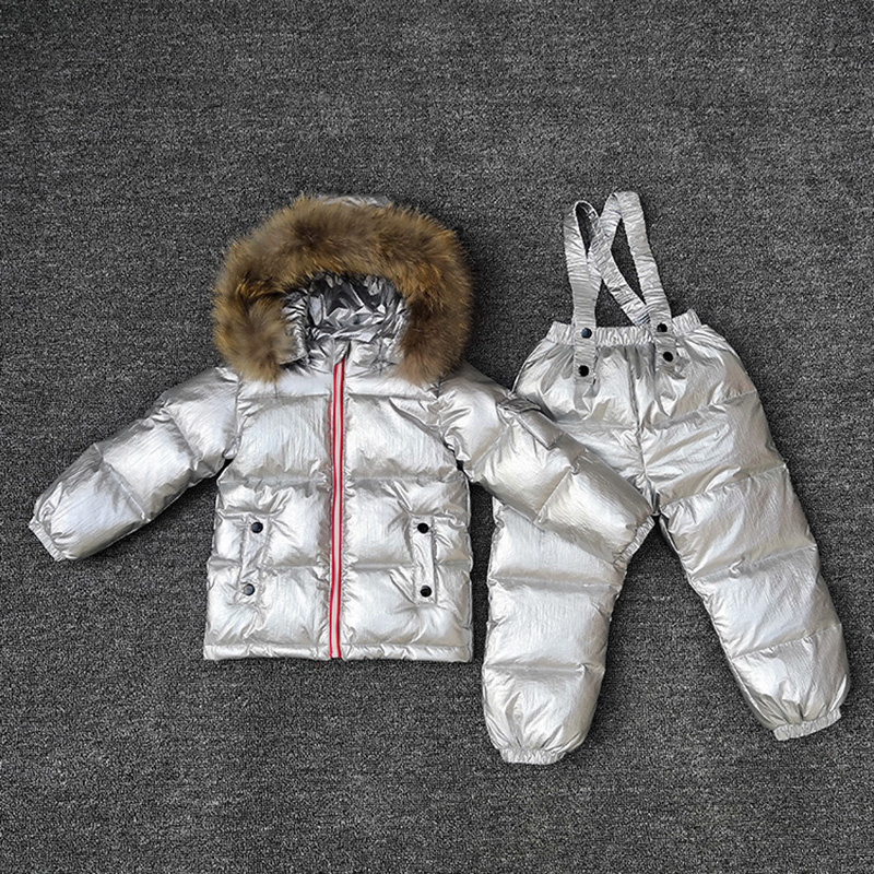 2019 Winter Children Clothing Sets Jackets Overalls Boys Skiing Suits Waterproof Girls Snow Outfits Fur White Duck Down Clohtes