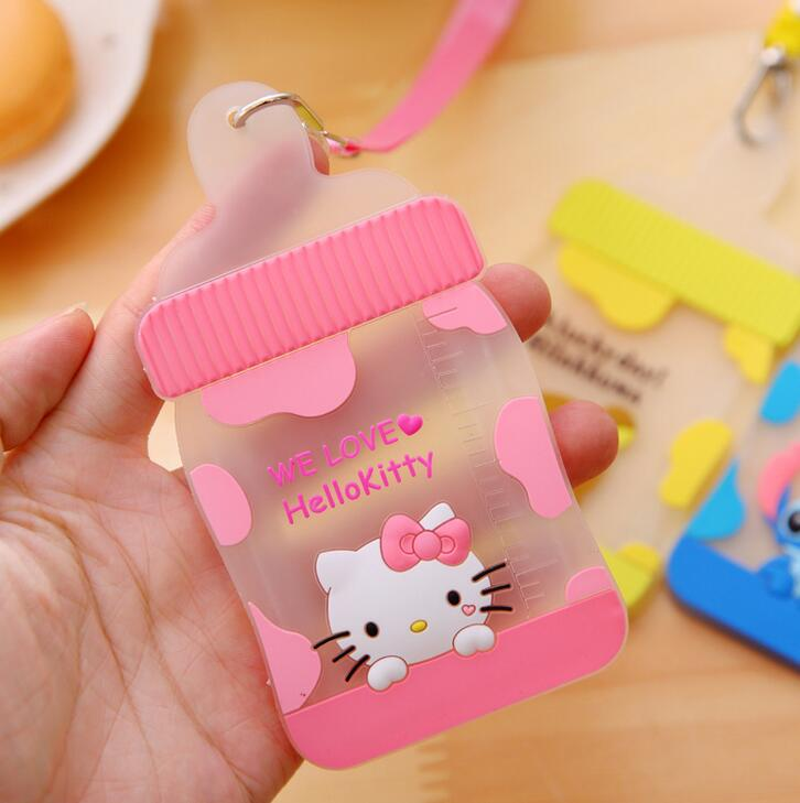 1 PCS Cute Feeding Bottle Shaped Cartoon Hello Kitty Animals Silicone Card Cover Bus Bank Id Card Case Holder with Rope ...