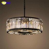 FUMAT Vintage Crystal Chandelier Lighting Loft Hanging Light Ceiling Mounted Chandeliers Lamp For Living Room Hotel