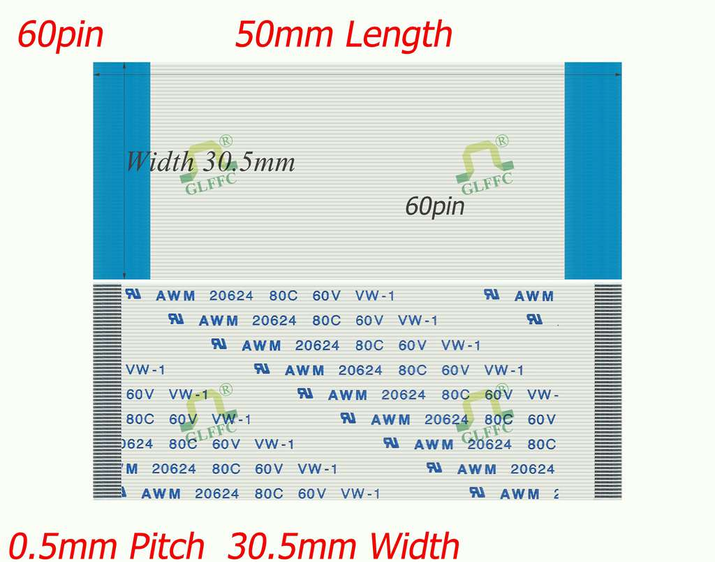 10PCS 60pin-50mm-GLFFC-0.5mm-A Type Flat Flex ribbon cable awm vw-1 ROHS customization is available
