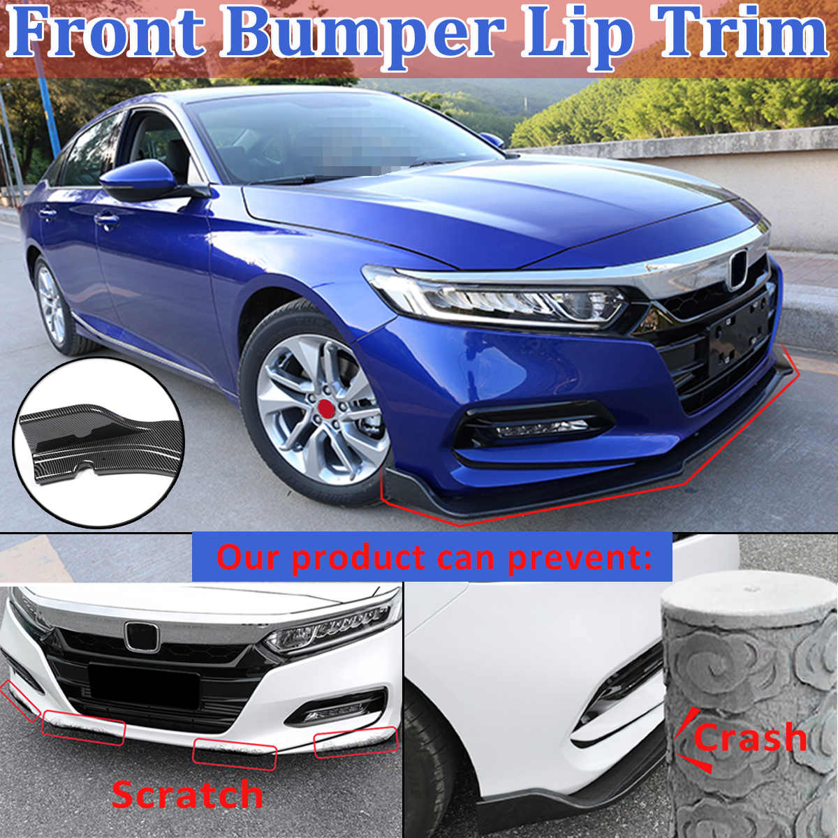 3pcs/Set ABS Carbon Fiber/ Matte Black Front Bumper Lip Protection Cover Trim For Honda For Accord 2018