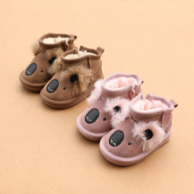 adoravel coala moda dos desenhos animados de couro real bebe menina botas de neve 1 2