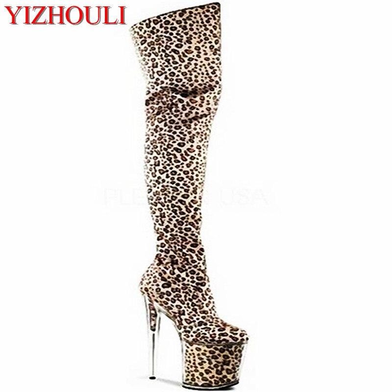 8 pulgadas con plataforma leopardo estampado tacones altos 20 cm cristal zapatos muslo alto stiletto botas oro Super sky plataforma zapatos brillo zapatos-in Botas sobre la rodilla from zapatos    1