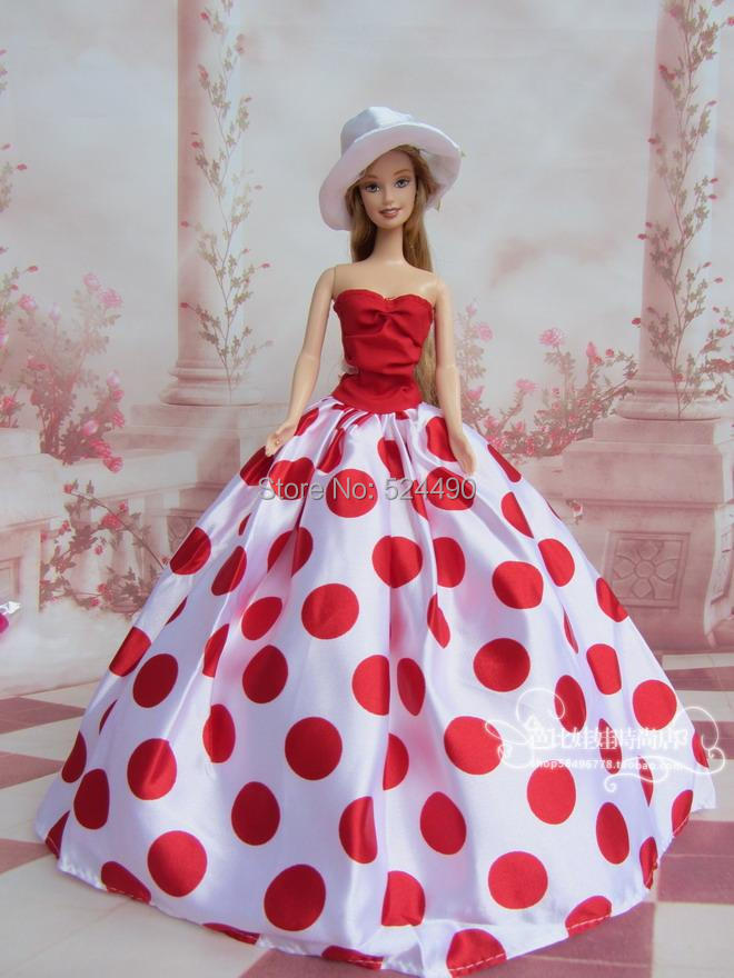 2014 New Attractive Night Social gathering Wedding ceremony Gown Purple Circle Spot Robe Hat Set Outfit Garments For 1/6 Bride Kurhn Barbie Doll
