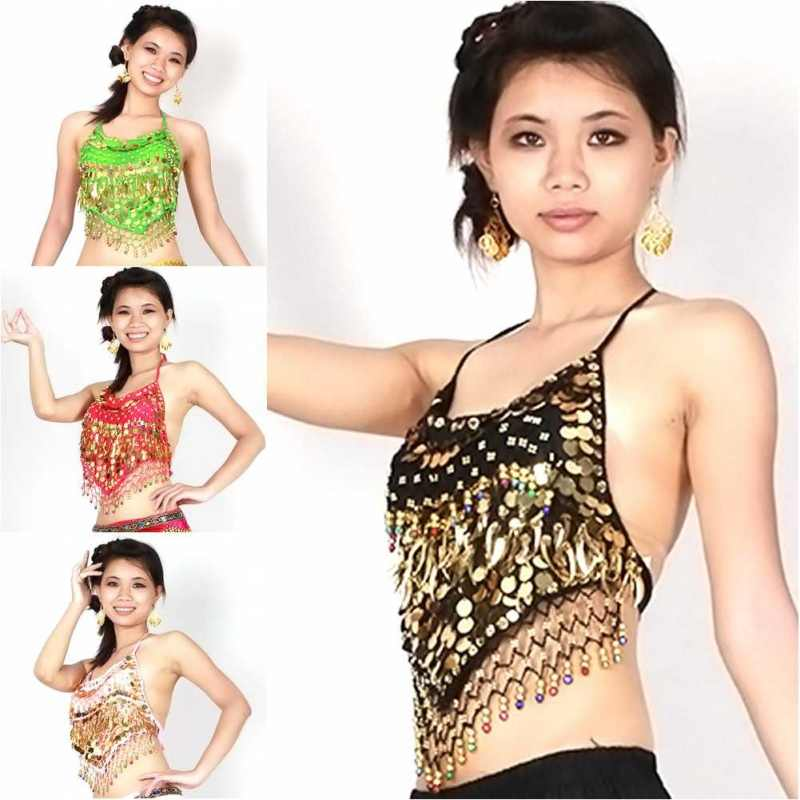 Women Coins Belly Dance Bra Top Blouse Costume Adjustable Bellyband Vest Choli Gypsy Indian Costume Tribal Club Dress 10 Colors