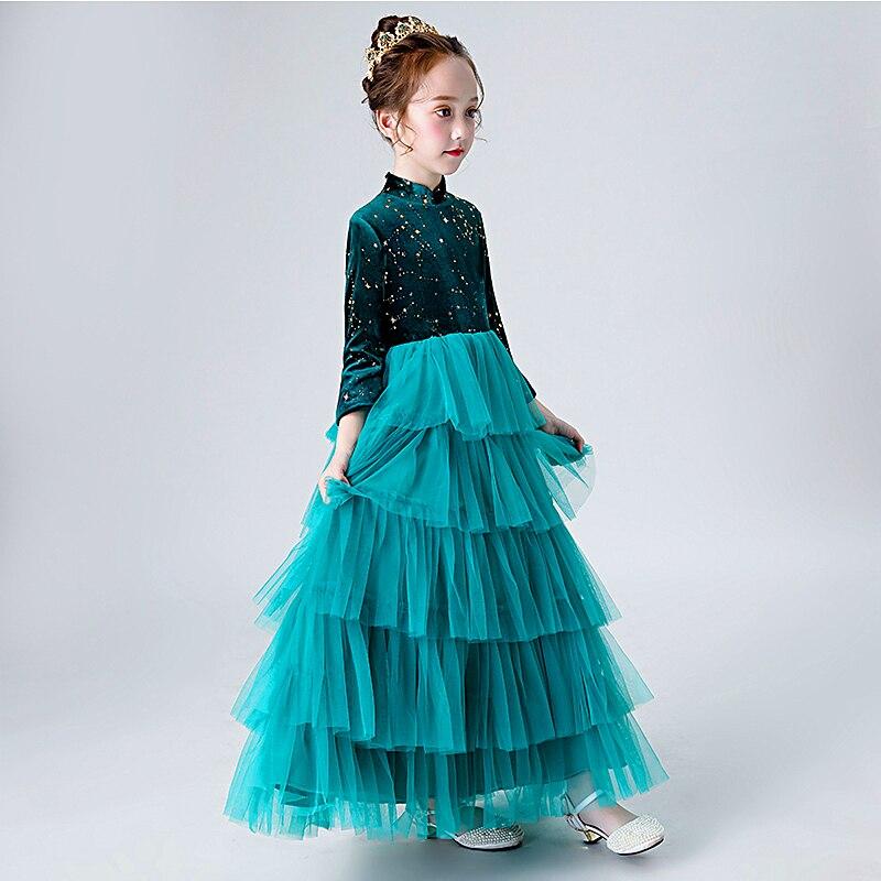 Velours Enfants Formelle Robe À manches Longues Fleur Fille Robes Pour Mariages D'anniversaire Princesse Robes de Fille robe de Bal Robe Longo - 2