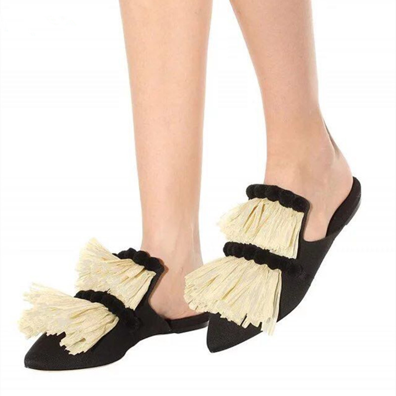 New Style Tassel Pointed Toe Summer Trend Women Slippers Cover Toe Outdoor Flat Women Slippers Female Leisure Zapatillas Shoes цены онлайн