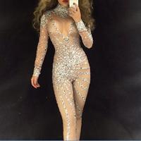 Серебристые блестящие камни Кристаллы комбинезон Украшенные стразами одежда с длинным рукавом роскошный костюм праздновать вечерние танц