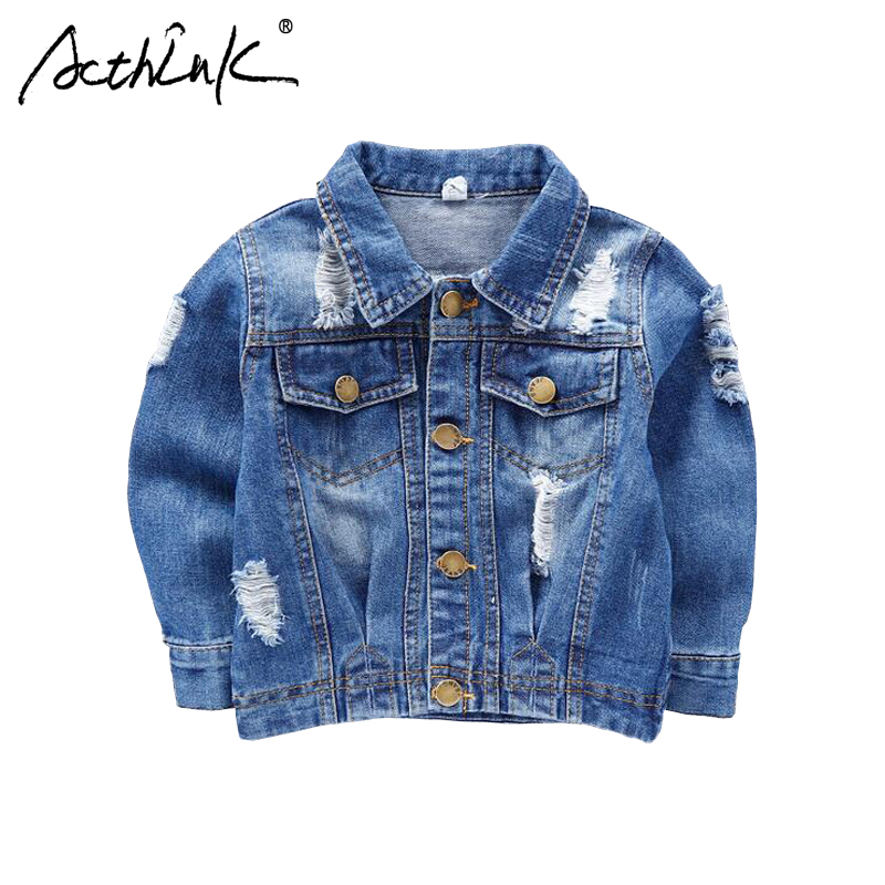 ActhInK New 2018 Boys Ripped Denim Jacket Baby Kids Street M