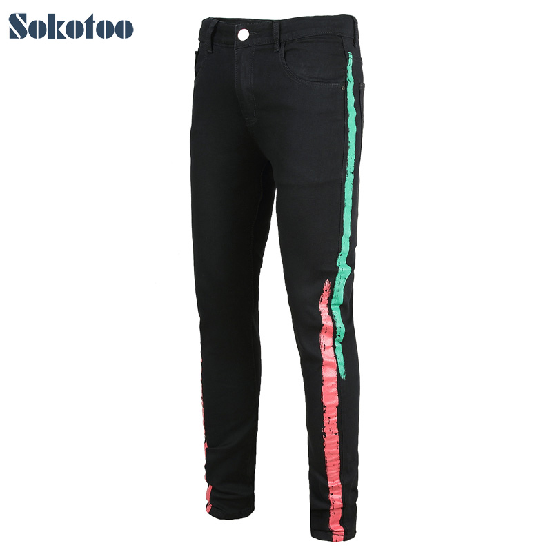 Sokotoo Men's Colored Stripe Printed Black Stretch Denim Jeans Slim Fit Plus Big Size Painted Long Pants