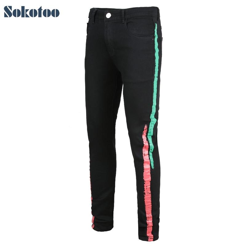 Sokotoo Men's Colored Stripe Printed Black Stretch Denim Jeans Slim Fit Plus Big Size Painted Long Pants