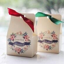 25pcs/lot Beautiful Flower Garland Sweet Love Wedding Candy Box DIY Fresh  Wreath Printed Party
