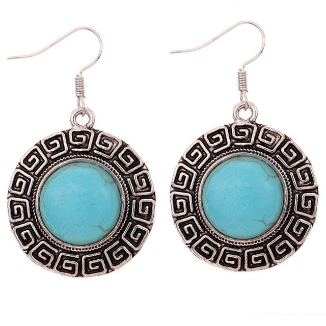 1a1c313fc Elegant Hook Earrings Round Vintage Pattern brincos Tibetan Silver Earrings  Fine and Fashion jewelry Gifts For Women