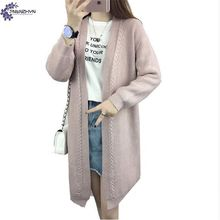 TNLNZHYN 2017 Spring New Casual Loose Large size Women Clothing Sweater Female Medium long Long-sleeved Sweater Cardigan Coat
