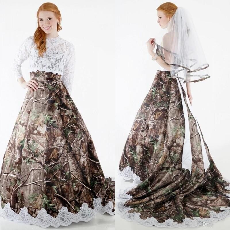 2017 Modest Camo Wedding Dresses with Detachable Wrap Lace ...
