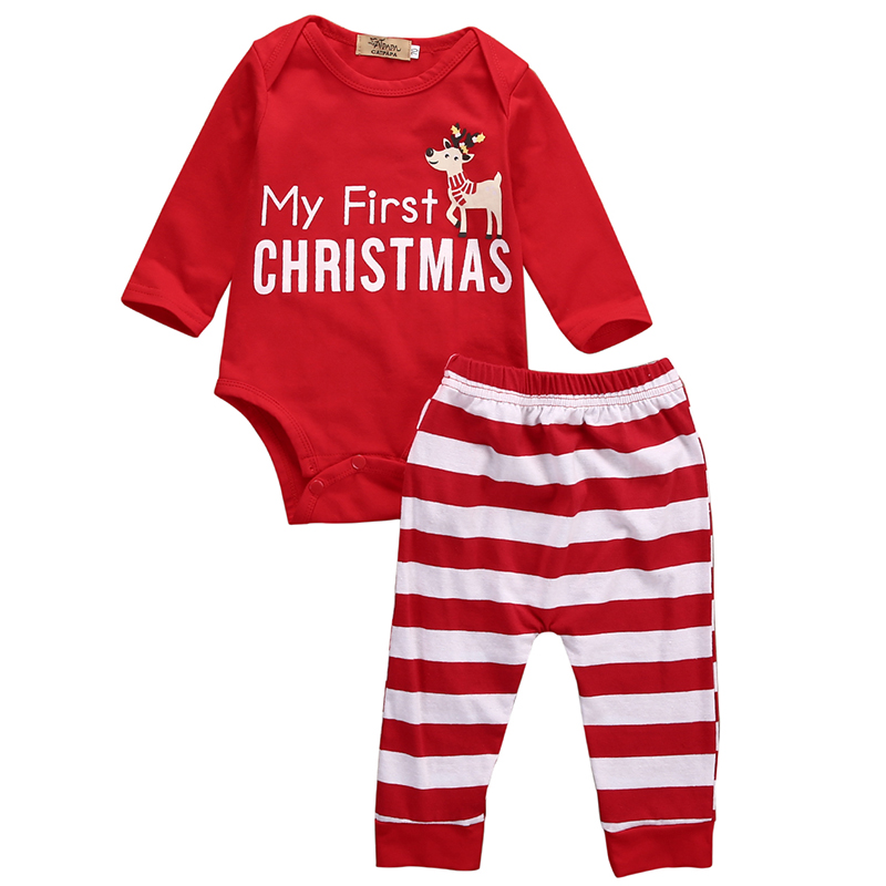 2PCS Newborn Baby Boy Girl Clothes Christmas Infant Bebes Long Sleeve Cotton Deer Bodysuit Striped Pant Outfit Bebek Giyim Red 2017 newborn baby boy girl clothes floral infant bebes romper bodysuit and bloomers bottom 2pcs outfit bebek giyim clothing