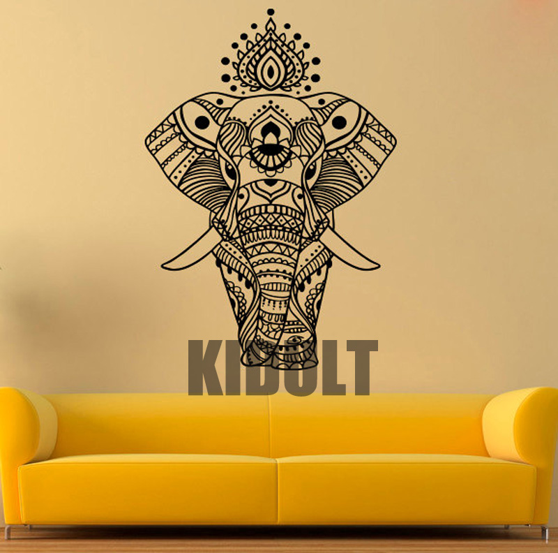 Indian Elephant Vinyl Sticker Elephant Wall Decal Animal Symbol Wall ...