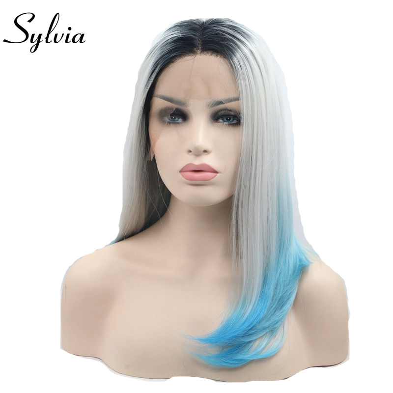 sylvia grey/blue ombre short straight synthetic lace front wigs with dark roots natural grey bob hairstyle heat resistant fiber