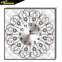 MURAN Diamond Embroidery Wall Clock 5D DIY Diamond Painting Cross Stitch Flower Watch Diamond Mosaic Rhinestones DF 2756