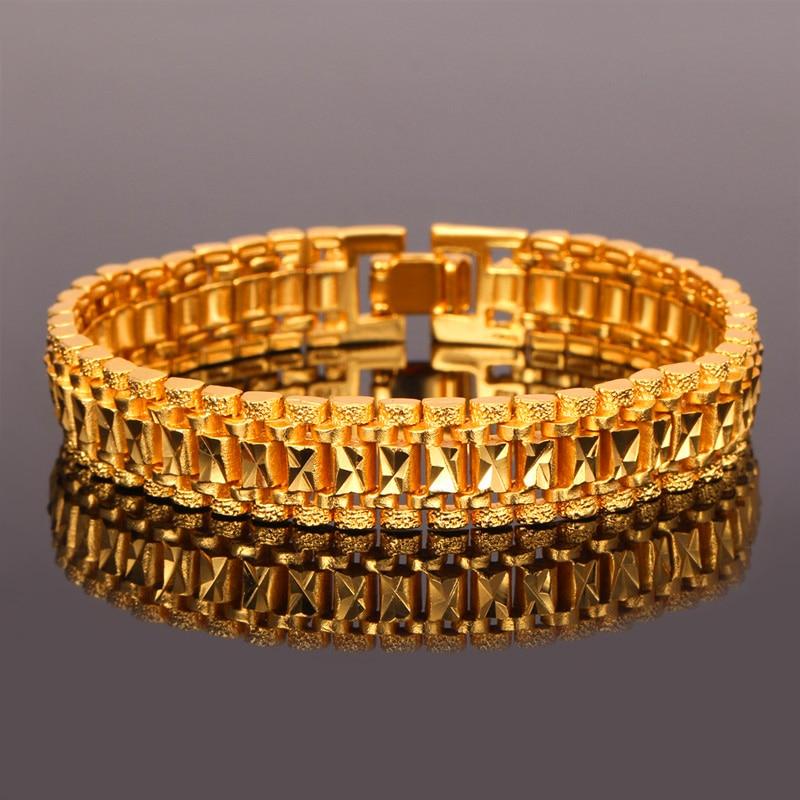 U7 Mens Bracelet Punk Rock Style Black/Silver/Gold Color Big Wide Chunky Chain Link Bracelets Meditation Men Jewelry Gift H550 5