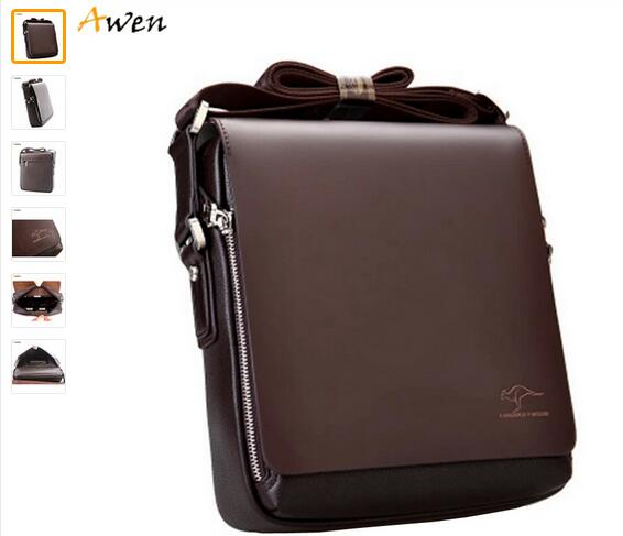 2016 Famous Brand Kangaroo Casual Business Men s Leather Messenger Bags 6 Size Large Men Shoulder