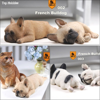 1/6 Scale Realistic Sleeping French Bulldog Carve Model Resin Animal Dog Pet Model For 12in Action Figure Accessories Toys