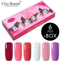 Clou Beaute 6pcs Gel Nail Polish Lacquer UV LED Varnish Glitter Art Pink Red Ivory Soak Off Set 8ml Gift Box