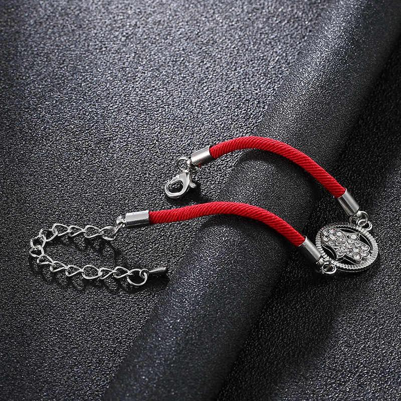 新しいロブスターボタン調節可能なホット販売ラッキー Kabala 赤ロープ糸ハムサブレスレットチャームレディー手作りファティマ友情ジュエル