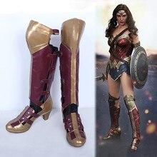 Superhéroe Batman vs Superman Wonder Woman Diana Prince Alta Botas de Cosplay Zapatos de Cuero