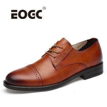 Genuine Leather Brogue Wedding Shoes Men Vintage Handmade Business Oxfords Shoes Flats Classic Party Men Shoes