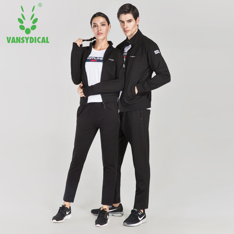 VANSYDICAL Winter Running Jacket  Sports Couples Suit Men And Women Autumn And Winter Loose Jacket Casual Trousers Two Pieces