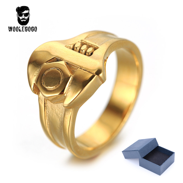 Vintage Mechanic Wrench Tool Ring Stainless Steel Mens Rings Punk Silver Gold Fashion Men Jewelry