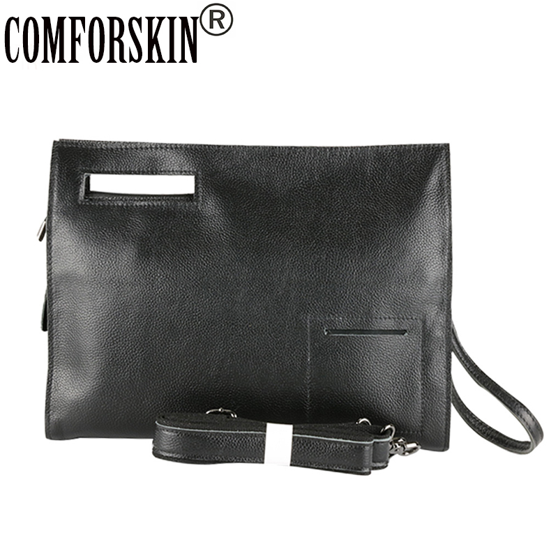 COMFORSKIN Luxurious Soft Cow Leather Men Messenger Bag Fashion Envelope Style Man Day Clutches 2018 High Quality Male Handbag