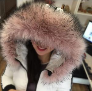 Image 1 - Autumn and winter womens Faux fur collar cap fox fur big collar raccoon fur collar muffler scarf cape thicken warm scarf