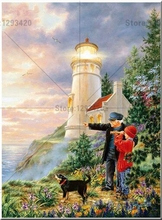 5D DIY Diamond Painting lighthouse child dog Cross Stitch Drill Rhinestone Home Decoration