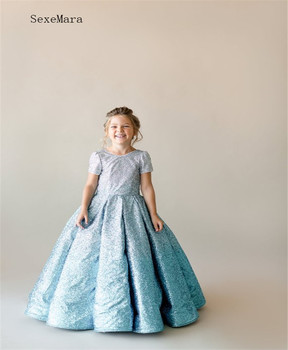 Glitter Flower Girl Dress for Kids Sequin Gown Backless Lace Up Simple But High Quality Popular Custom Made For Special Occasion